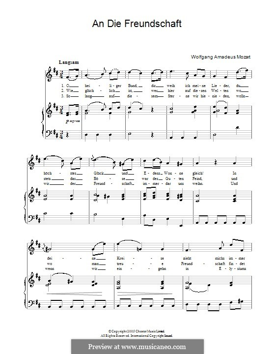 Lobegesang auf die feierliche Johannisloge, K.148 (125h): Für Stimme und Klavier by Вольфганг Амадей Моцарт