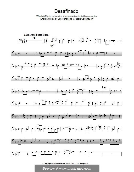 Desafinado (Slightly Out of Tune): For trombone by Antonio Carlos Jobim