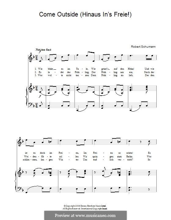 Альбом песен для юношества, Op.79: No.12 Hinaus in's Freie! (Come Outside!) by Роберт Шуман