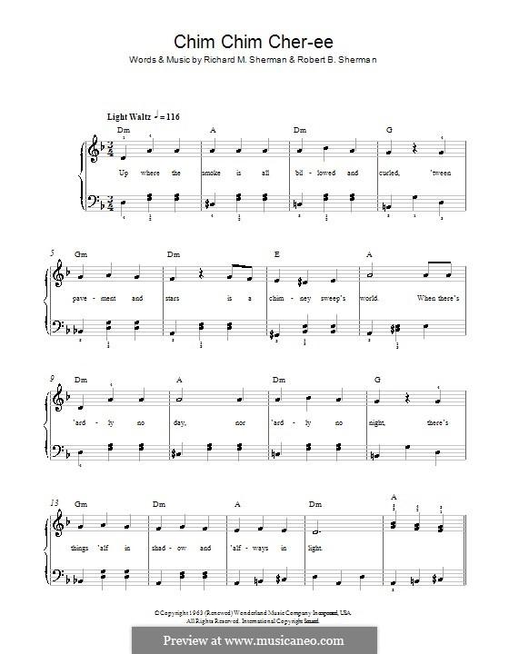 Chim Chim Cher-ee (from Mary Poppins): Для фортепиано (легкий уровень) by Richard M. Sherman, Robert B. Sherman