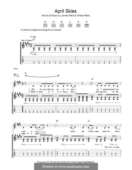 April Skies (The Jesus and Mary Chain): Для гитары с табулатурой by James Reid, William Reid