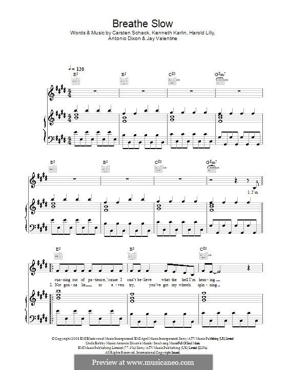 Breathe Slow: Для голоса и фортепиано (или гитары) by Antonio Dixon, Carsten Schack, Harold Lilly Jr., Jay Valentine, Kenneth Karlin