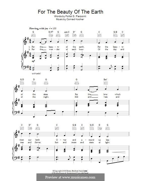 For the Beauty of the Earth: Для голоса и фортепиано (или гитары) by Conrad Kocher