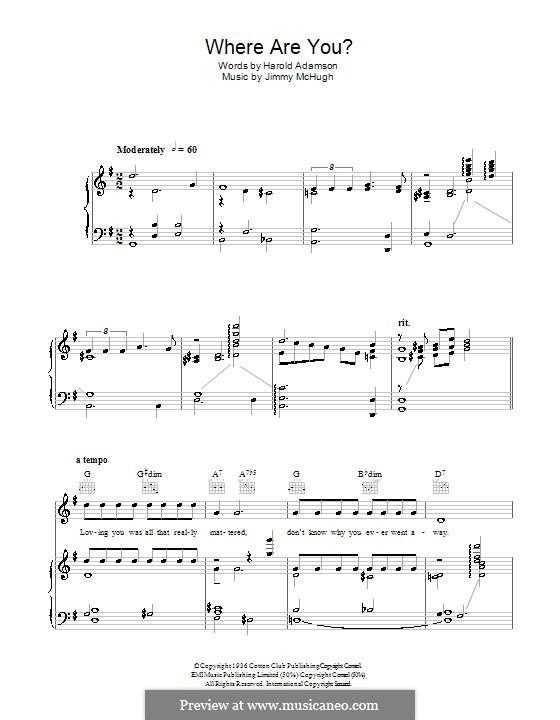 Where Are You: Для голоса и фортепиано (или гитары) by Jimmy McHugh
