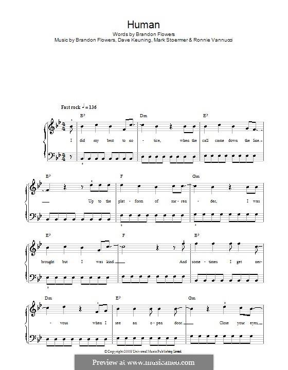 Human (The Killers): Для фортепиано (легкий уровень) by Brandon Flowers, Dave Keuning, Mark Stoermer, Ronnie Vannucci