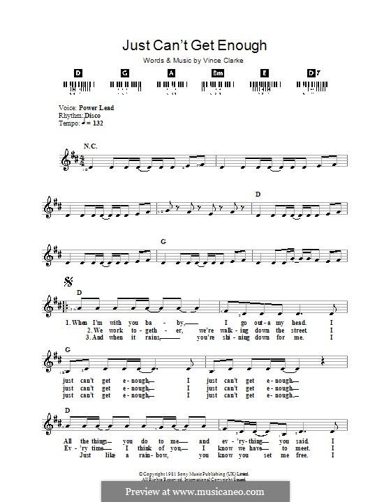 Just Can't Get Enough (Depeche Mode): Для клавишного инструмента by Vince Clarke