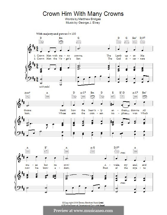 Crown Him with Many Crowns: Для голоса и фортепиано (или гитары) by George Job Elvey