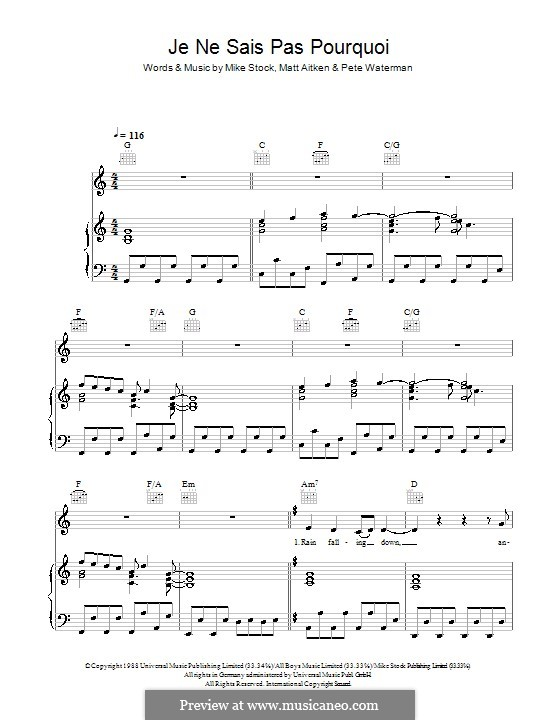 Je Ne Sais Pas Pourquoi (Kylie Minogue): Для голоса и фортепиано (или гитары) by Matt Aitken, Mike Stock, Pete Waterman
