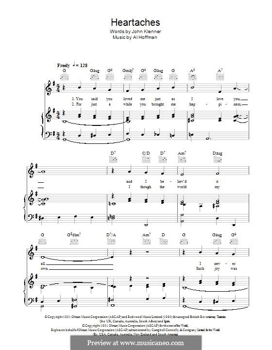 Heartaches (Pat Boone): Для голоса и фортепиано (или гитары) by Al Hoffman