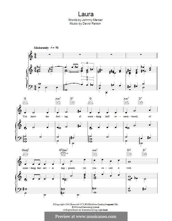 Laura (Frank Sinatra): Для голоса и фортепиано (или гитары) by David Raksin