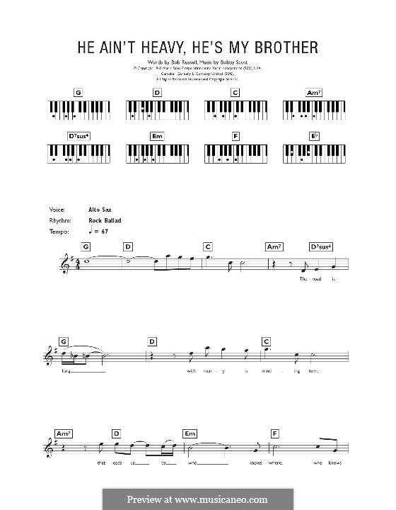 He Ain't Heavy, He's My Brother: Для клавишного инструмента by Bobby Scott