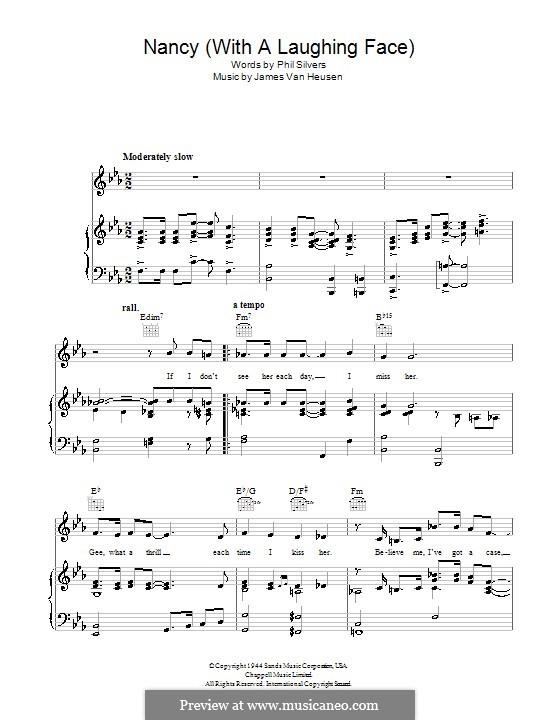 Nancy (With the Laughing Face): Для голоса и фортепиано или гитары (Frank Sinatra) by Jimmy Van Heusen