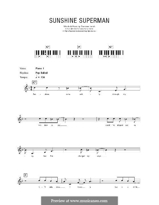 Sunshine Superman: Для клавишного инструмента by Donovan Leitch