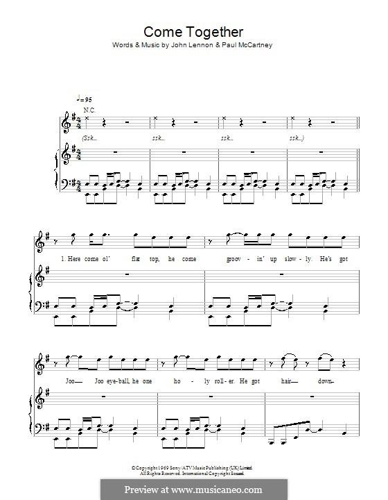 Come Together (The Beatles): Для голоса и фортепиано или гитары (E Minor) by John Lennon, Paul McCartney