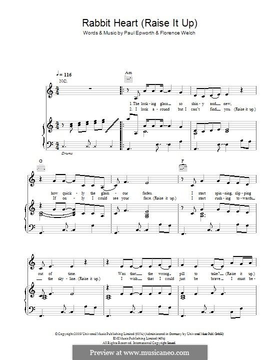 Rabbit Heart (Raise It Up): Для голоса и фортепиано или гитары (Florence and The Machine) by Brian Degraw, Elizabeth Bougatsos, Florence Welch, Joshua Deutsch, Paul Epworth, Timothy Dewit