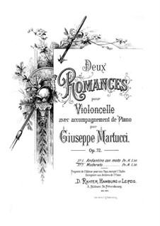 Два романса для виолончели и фортепиано, Op.72: Романс No.1 – партитура для двух исполнителей, сольная партия by Джузеппе Мартуччи