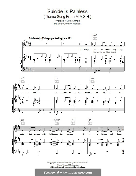 M.A.S.H. (Suicide is Painless): Для голоса и фортепиано (или гитары) by Johnny Mandel