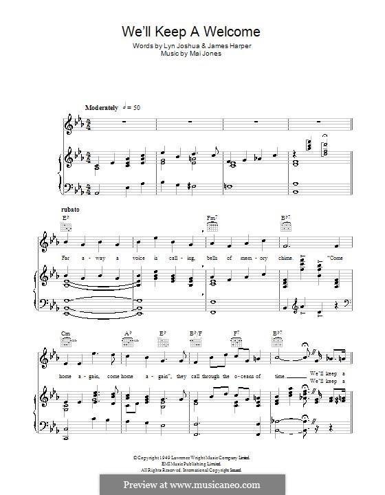 We'll Keep a Welcome (Harry Secombe): Для голоса и фортепиано (или гитары) by Mai Jones