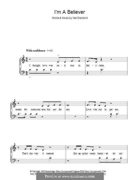 I'm a Believer: Для фортепиано (легкий уровень) by Neil Diamond