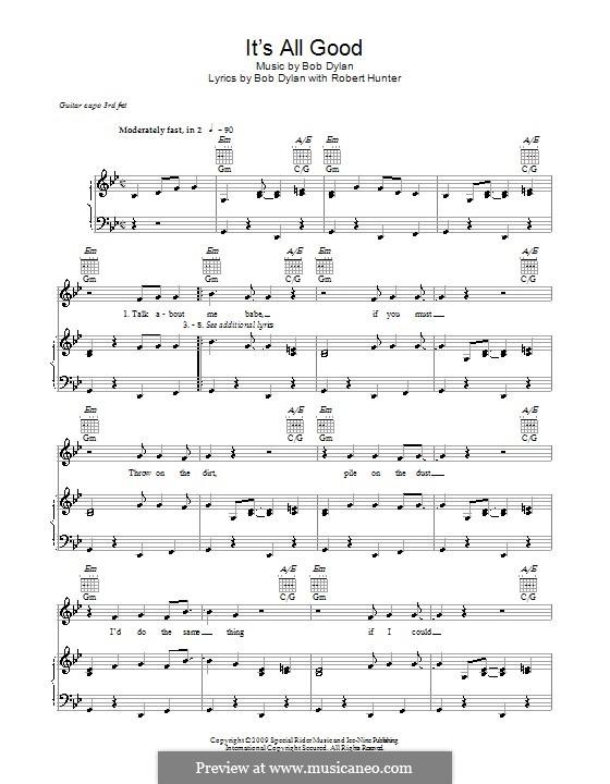It's All Good: Для голоса и фортепиано (или гитары) by Bob Dylan