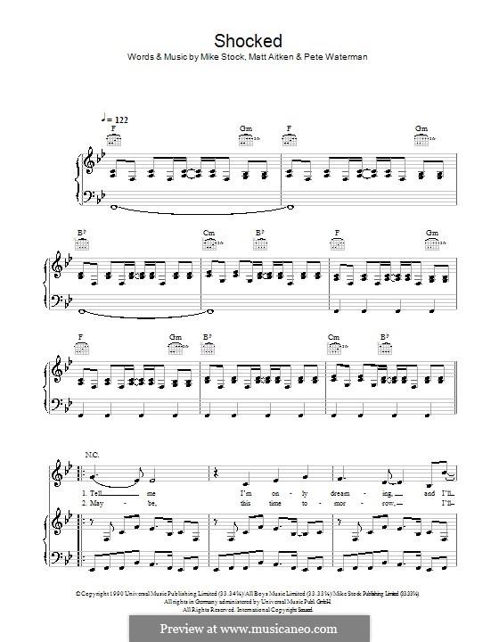 Shocked (Kylie Minogue): Для голоса и фортепиано (или гитары) by Matt Aitken, Mike Stock, Pete Waterman