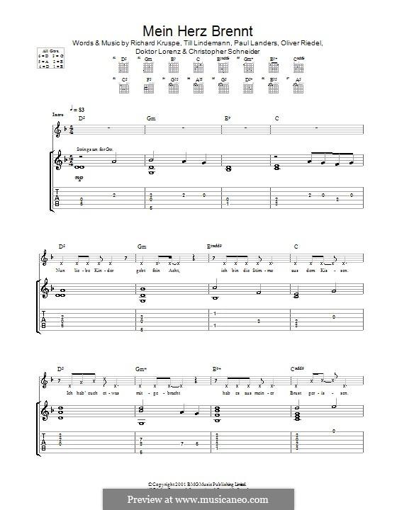 Mein Herz Brennt (Rammstein): Для гитары с табулатурой by Christopher Schneider, Doktor Lorenz, Oliver Riedel, Paul Landers, Richard Kruspe, Till Lindemann