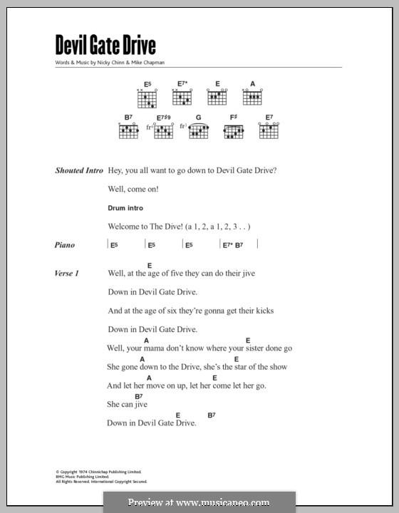 Devil Gate Drive (Suzi Quatro): Текст, аккорды by Mike Chapman, Nicky Chinn