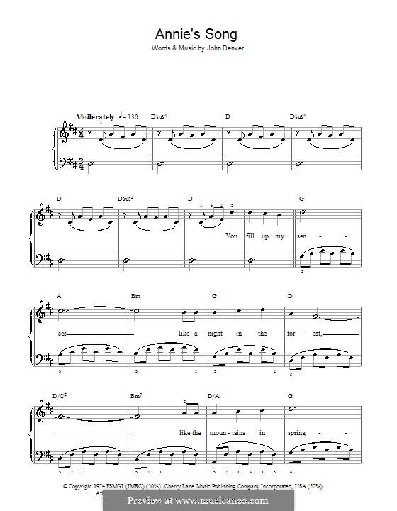 Annie's Song: Для фортепиано (легкий уровень) by John Denver