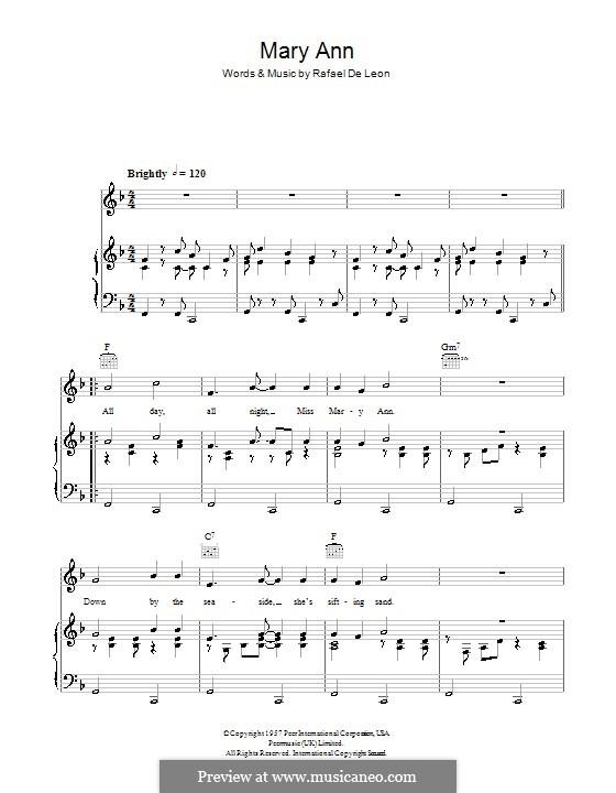 Mary Ann: Для голоса и фортепиано (или гитары) by Rafael De Leon