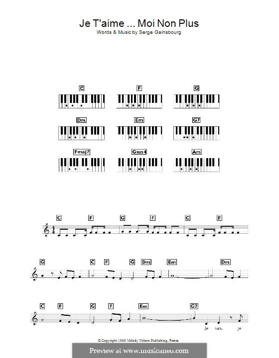 Je T'aime... Moi Non Plus: Для клавишного инструмента by Serge Gainsbourg