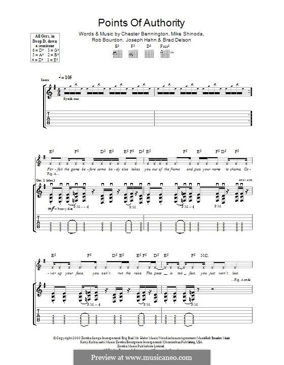 Points of Authority (Linkin Park): Гитарная табулатура by Brad Delson, Charles Bennington, Joseph Hahn, Mike Shinoda, Rob Bourdon