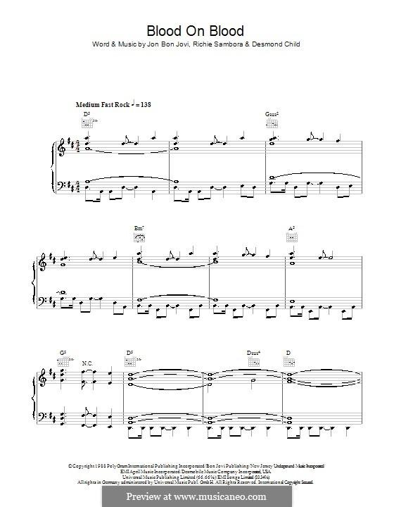 Blood on Blood (Bon Jovi): Для голоса и фортепиано (или гитары) by Desmond Child, Jon Bon Jovi, Richie Sambora