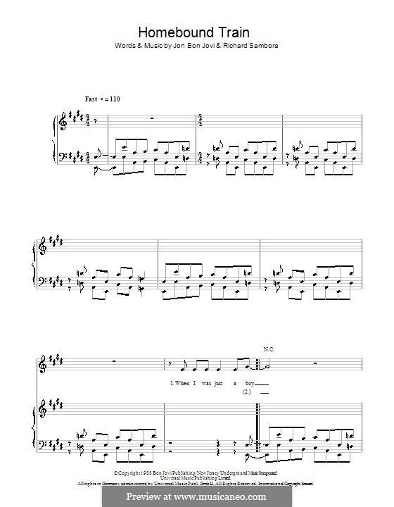 Homebound Train (Bon Jovi): Для голоса и фортепиано (или гитары) by Jon Bon Jovi, Richie Sambora