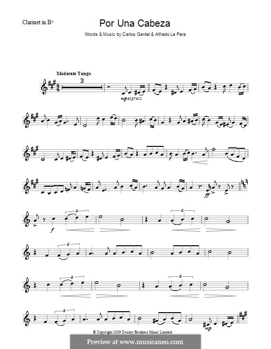 Por Una Cabeza: Для кларнета by Carlos Gardel