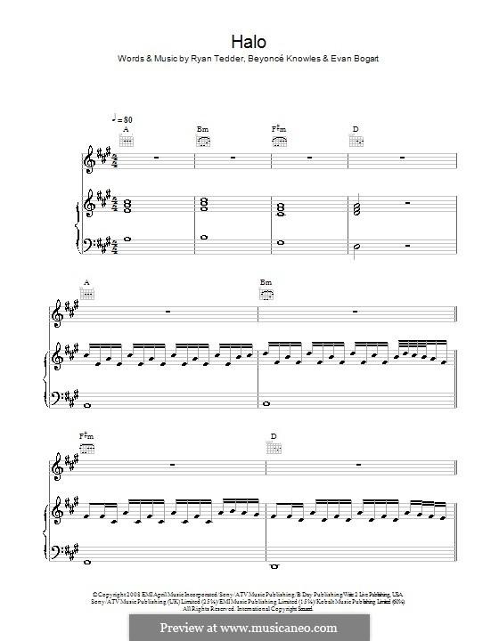 Halo: Для голоса и фортепиано (или гитары) by Beyoncé, Evan Kidd Bogart, Ryan B Tedder
