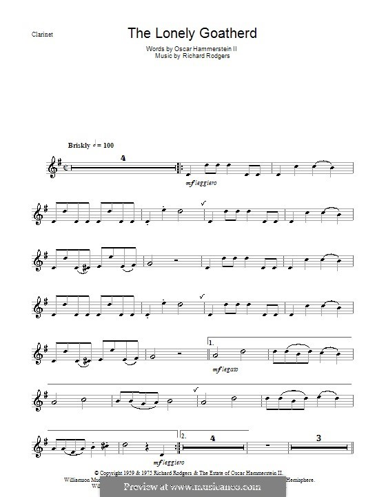 The Lonely Goatherd (from The Sound of Music): For clarinet and piano – solo part by Richard Rodgers