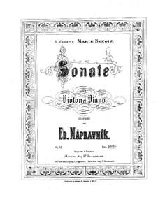 Соната для скрипки и фортепиано, Op.52: Партитура, сольная партия by Эдуард Направник