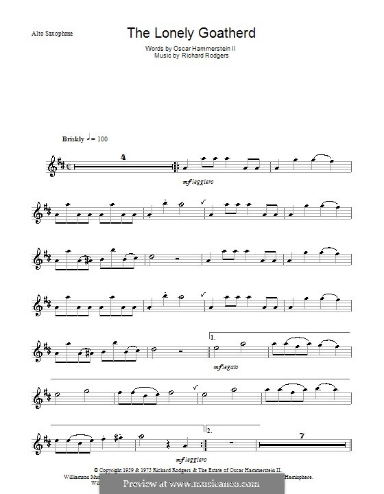The Lonely Goatherd (from The Sound of Music): For alto saxophone and piano – solo part by Richard Rodgers