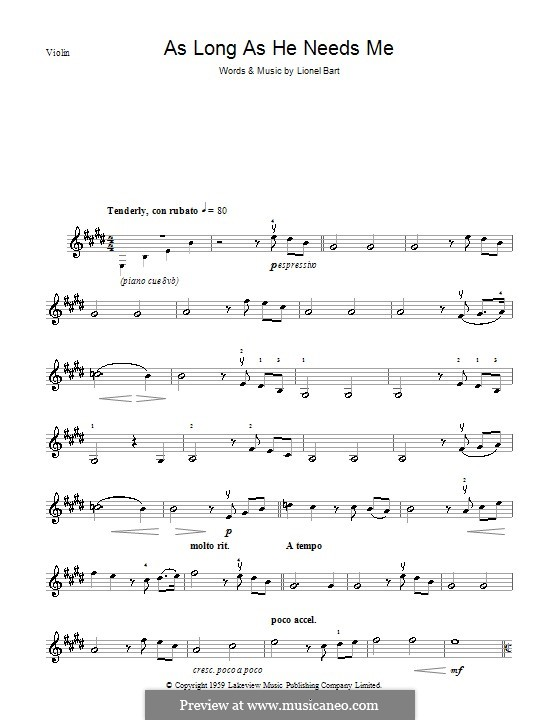 As Long as He Needs Me (from Oliver!): Для скрипки by Lionel Bart