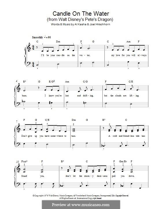 Candle on the Water (from Walt Disney's Pete's Dragon): Для фортепиано (легкий уровень) by Al Kasha, Joel Hirschhorn