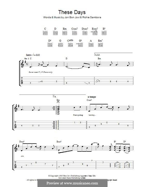 These Days (Bon Jovi): Гитарная табулатура by Jon Bon Jovi, Richie Sambora