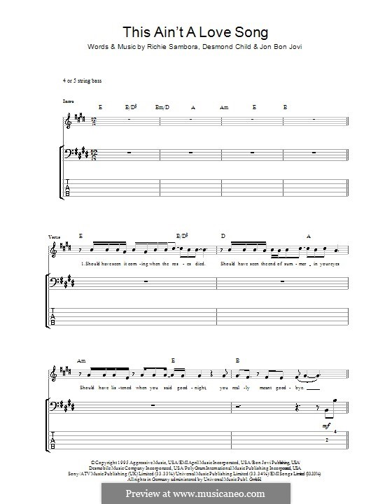 This ain't a Love Song (Bon Jovi): Для бас-гитары с табулатурой by Desmond Child, Jon Bon Jovi, Richie Sambora