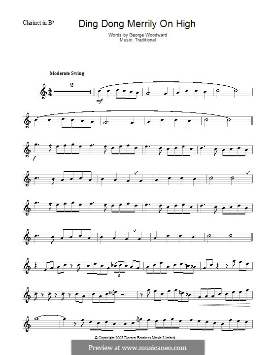 Ding Dong! Merrily on High (Printable Scores): Для кларнета by folklore