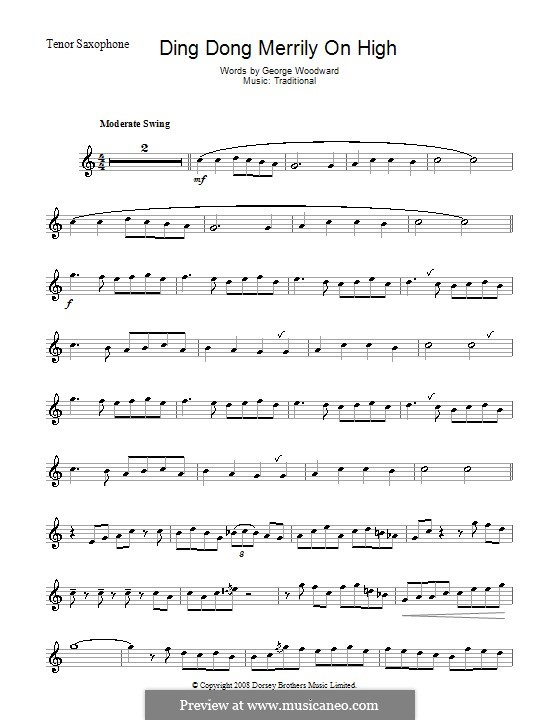 Ding Dong! Merrily on High (Printable Scores): Для тенорового саксофона by folklore