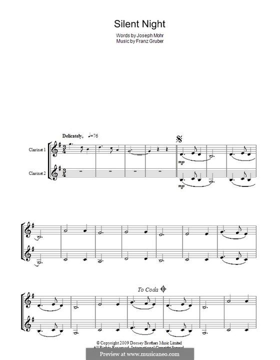 Тихая ночь (ноты для печати): Для двух кларнетов by Франц Ксавьер Грубер