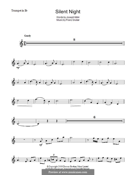 Тихая ночь (ноты для печати): Для трубы by Франц Ксавьер Грубер
