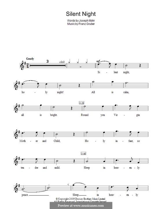 Тихая ночь (ноты для печати): Для блокфлейты by Франц Ксавьер Грубер