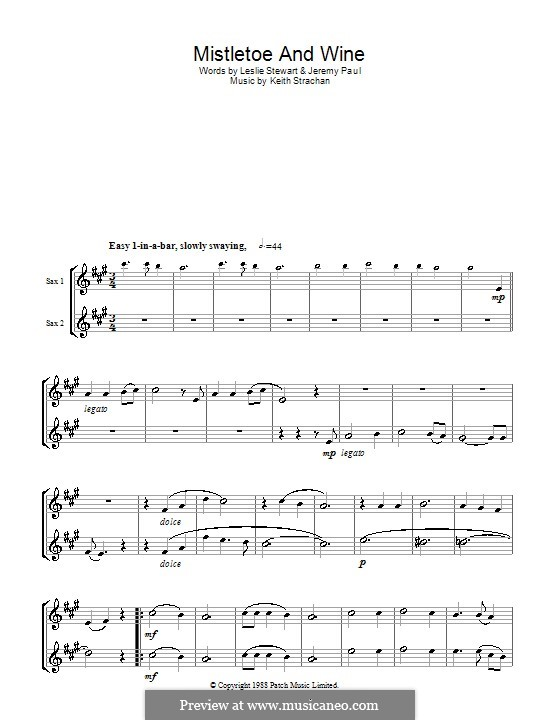 Mistletoe and Wine (Cliff Richard): For two tenor saxophones by Keith Strachan