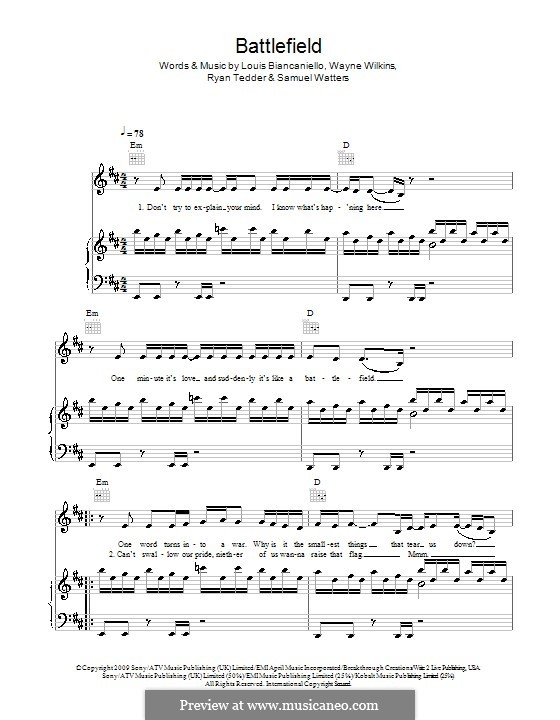 Battlefield (Jordin Sparks): Для голоса и фортепиано (или гитары) by Louis Biancaniello, Ryan B Tedder, Samuel Watters, Wayne Wilkins
