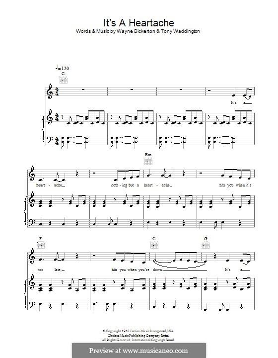 Nothing But a Heartache: Для голоса и фортепиано или гитары (Bonnie Tyler) by Tony Waddington, Wayne Bickerton
